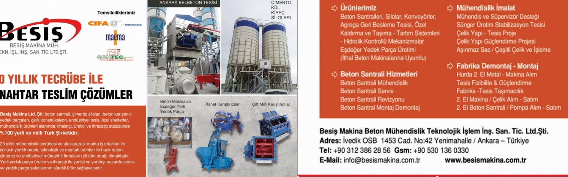 Besis Makina Ltd.Co. Concrete Batching Plant Steel Construction Spare Part production compatible to Simem, Sicoma,IME,CM,Cuoghi,ELBA